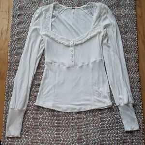 NWOT Free People Cream Lace Button Up Long Sleeve